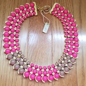 NWT! Iman Pink Beaded Collar Statement Necklace